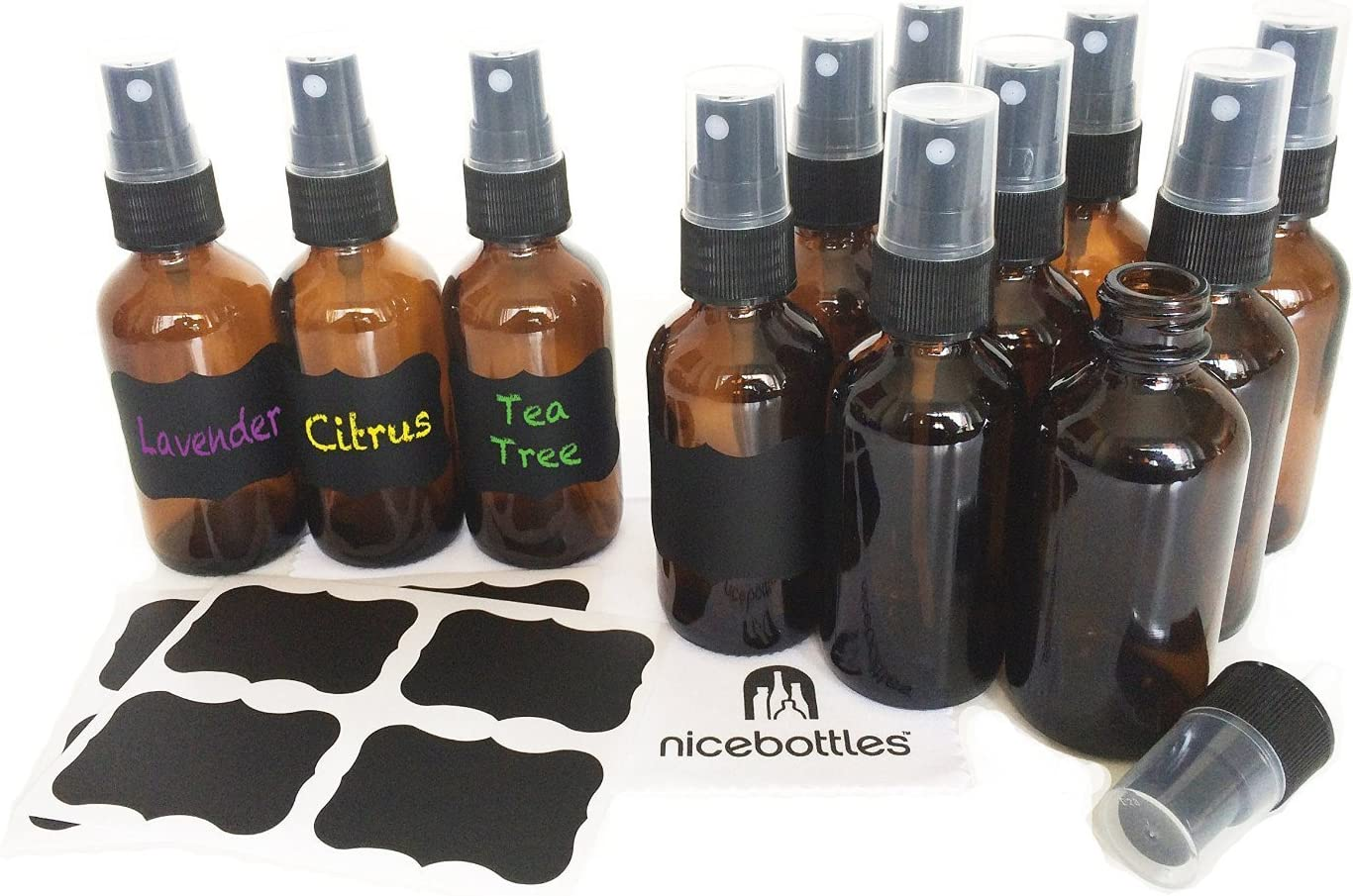 1 oz. Pack of 12 GPS DP-1G-AMBER-FMS Amber Boston Round Glass Bottle with Fine Mist Sprayer