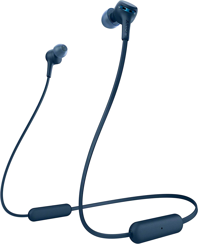 Sony WIXB400 - Auriculares inalámbricos de botón (Bluetooth, Extra Bass, 15h de batería, Tapones magnéticos para Transporte fácil, Llamadas Manos Libres, óptimo para Trabajar en casa), Azul