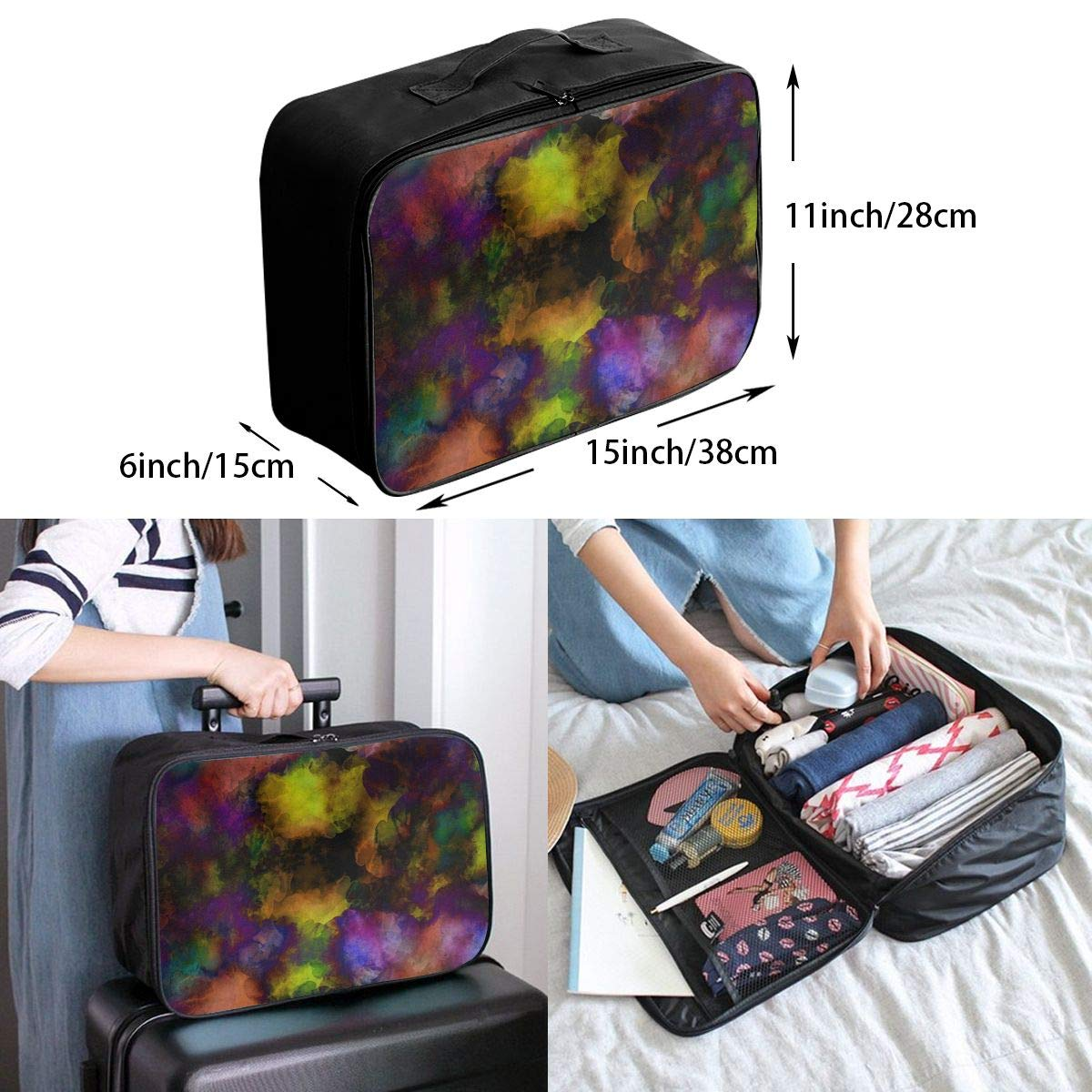 Art Beautiful Abstract Travel Lightweight Waterproof Foldable Storage Carry Luggage Large Capacity Portable Luggage Bag Duffel Bag