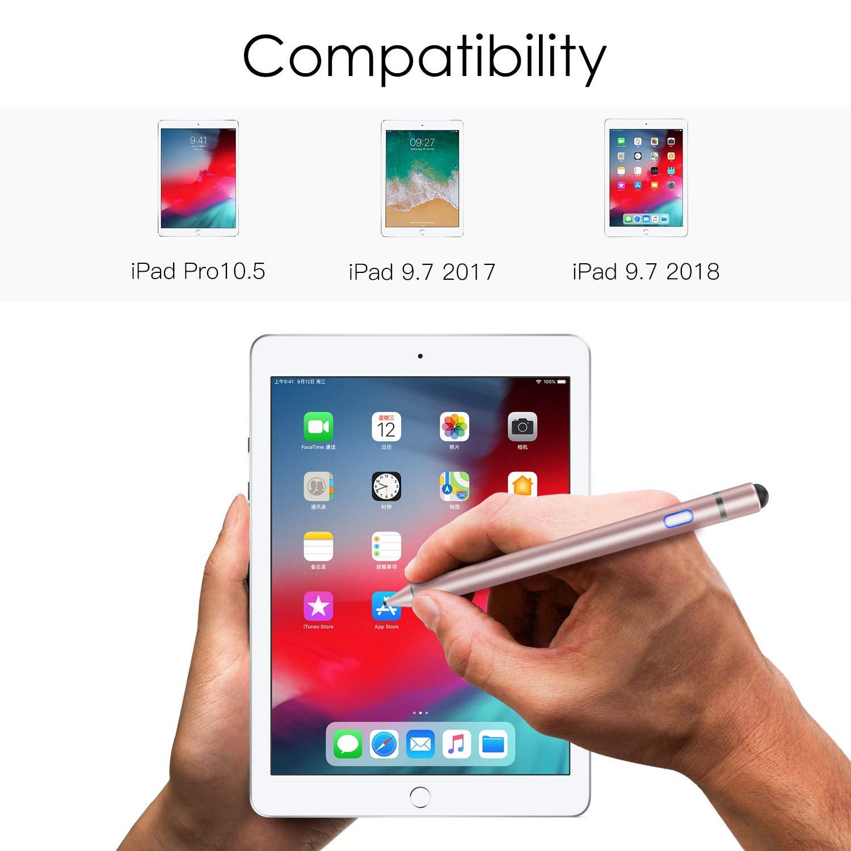 1.5mm High Precision Sensitivity Capacitive Pen Silver Metal Stylus Pen Compatible with iPad 9.7 2018 // iPad 9.7 2017 // iPad Pro 10.5 MoKo Universal Active Stylus