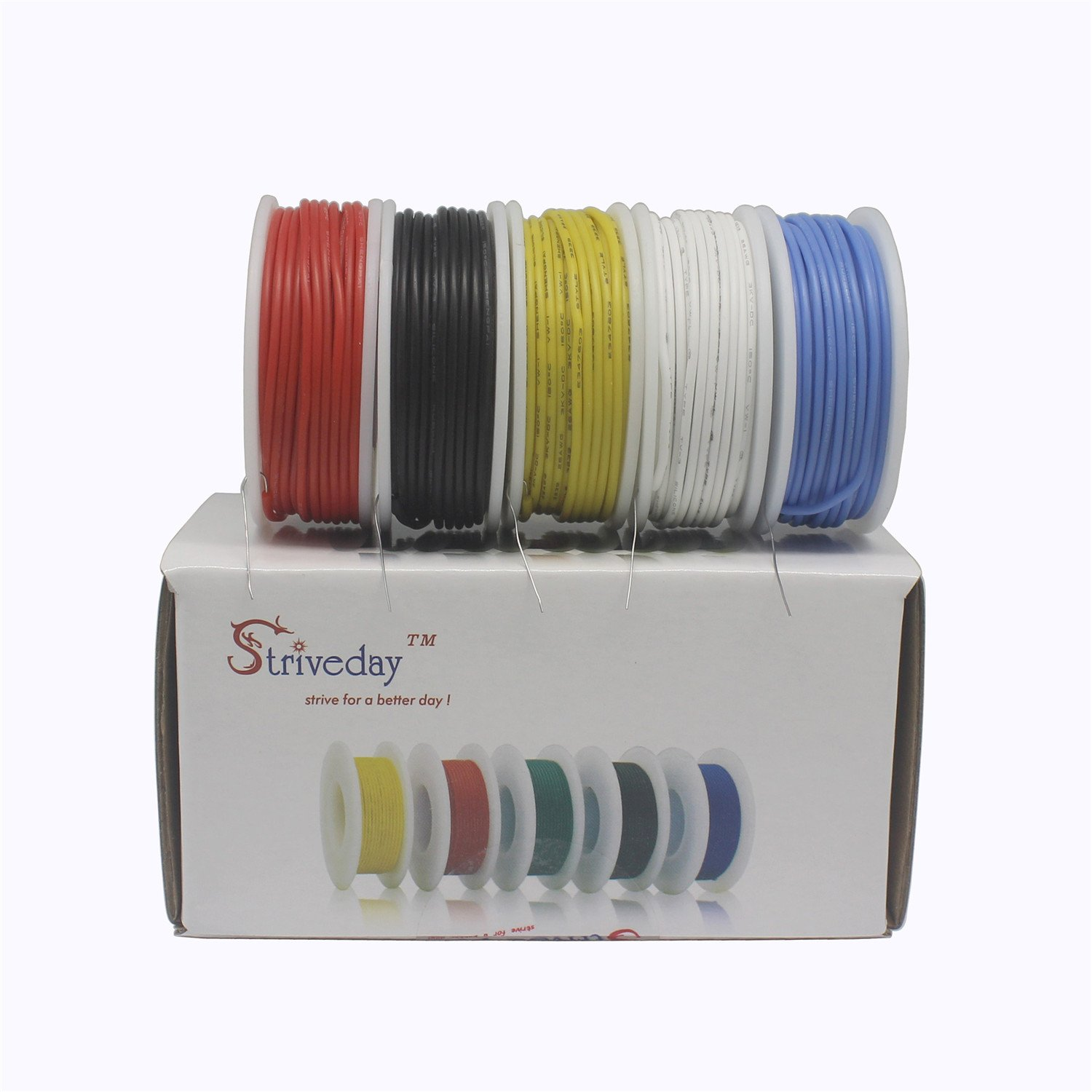 striveday trade; 22 AWG Flexible Silicone Solid wire Kit box ...