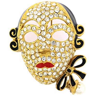 20b0dd2b7530ca Brooches Store Gold Plated and Swarovski Crystal Venetian Theatrical Mask  Brooch  Brooches Store  Amazon.co.uk  Jewellery