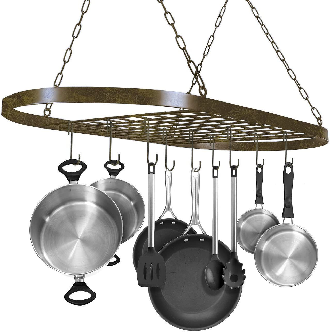 Utensils Household Sorbus Pot and Pan Rack for Ceiling with Hooks /— Decorative Oval Mounted Storage Rack /— Multi-Purpose Organizer for Home Rustic Books Kitchen Cookware Restaurant