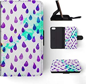 Foxercases Design (2020) Watercolor Raindrop Pattern Flip Wallet Phone Case Cover for Apple iPhone 5 / 5S / SE (2016)