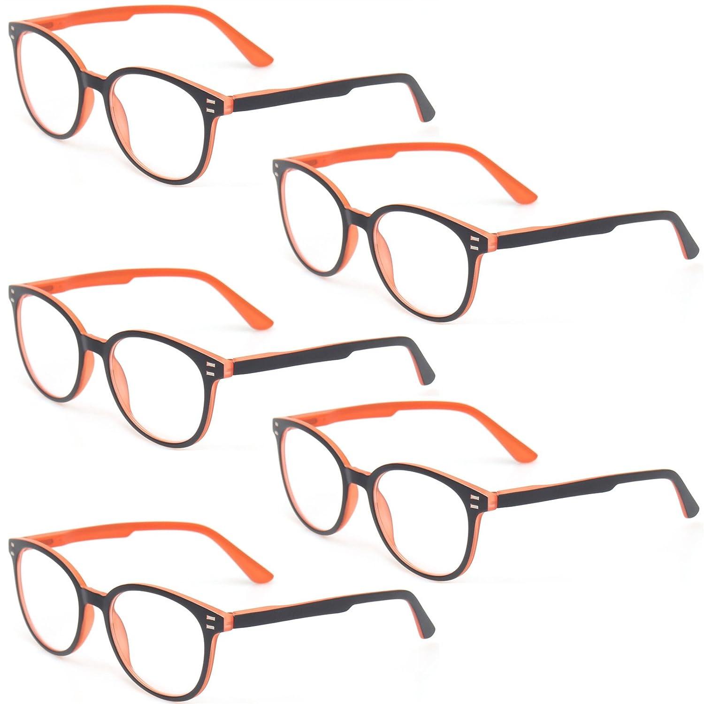 Kerecsen 5 Pairs Retro Round Frame Reading Glasses Spring Hinge Large Readers 0.50)