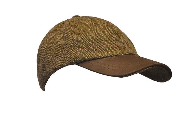 3b838bb5728 Walker   Hawkes - Uni-Sex Derby Tweed Baseball Cap Leather Peak Hunting  Shooting Countrywear