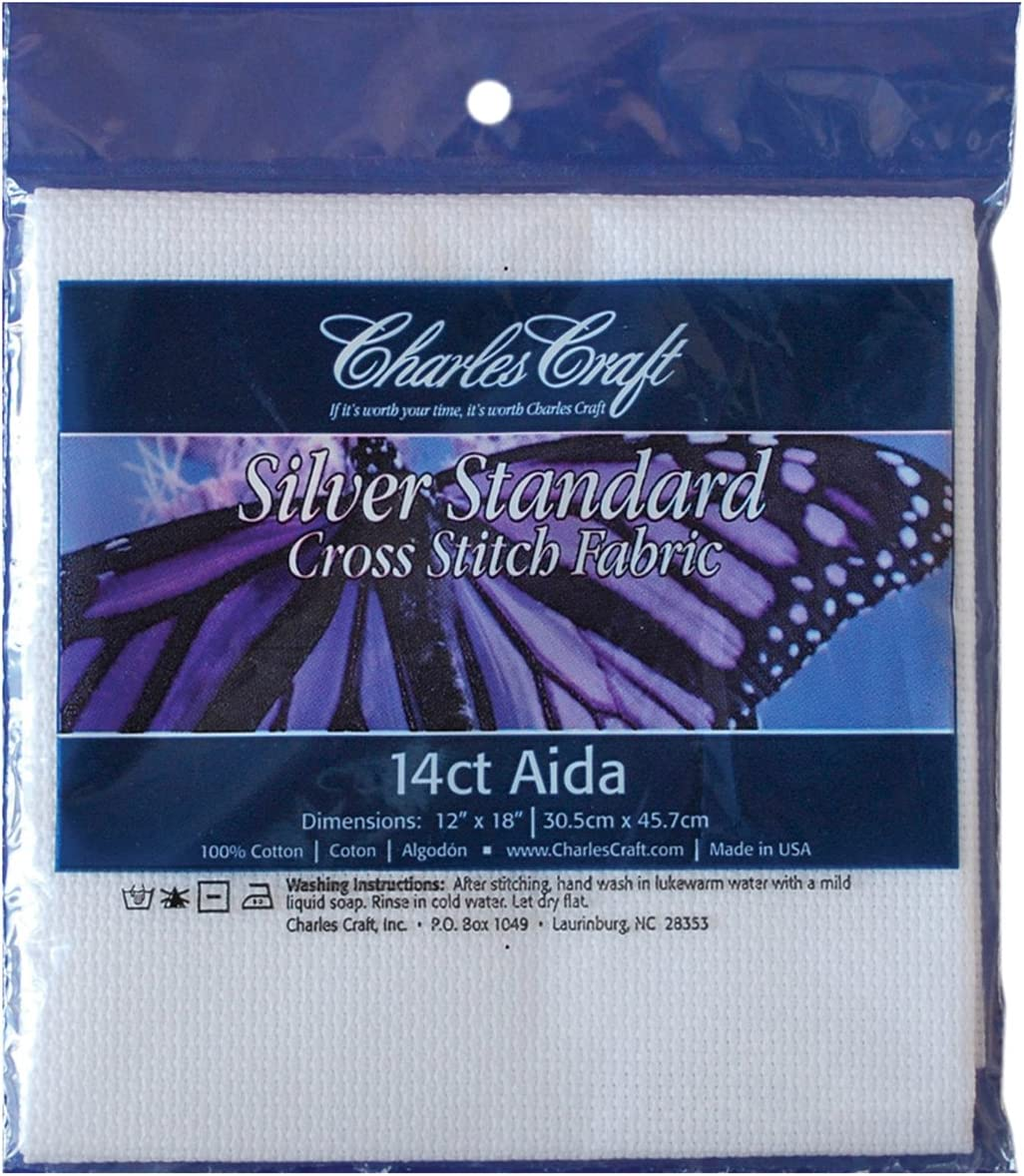 "Charles Craft Silver Standard Cross Stitch Fabric 14 ct Aida 12/""x18/"" Lt Oatmeal"