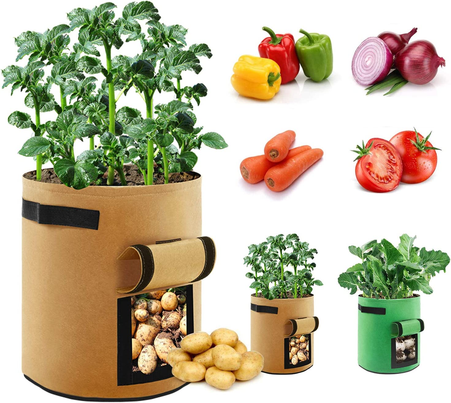 King&Charles 2 Pack 10 Gallon Garden Planting Grow Bags for Potato Tomato and Other Vegetables Grow Bags,Plant Container with Handles and Visualization Garden Bag Vegetable Growing Bags