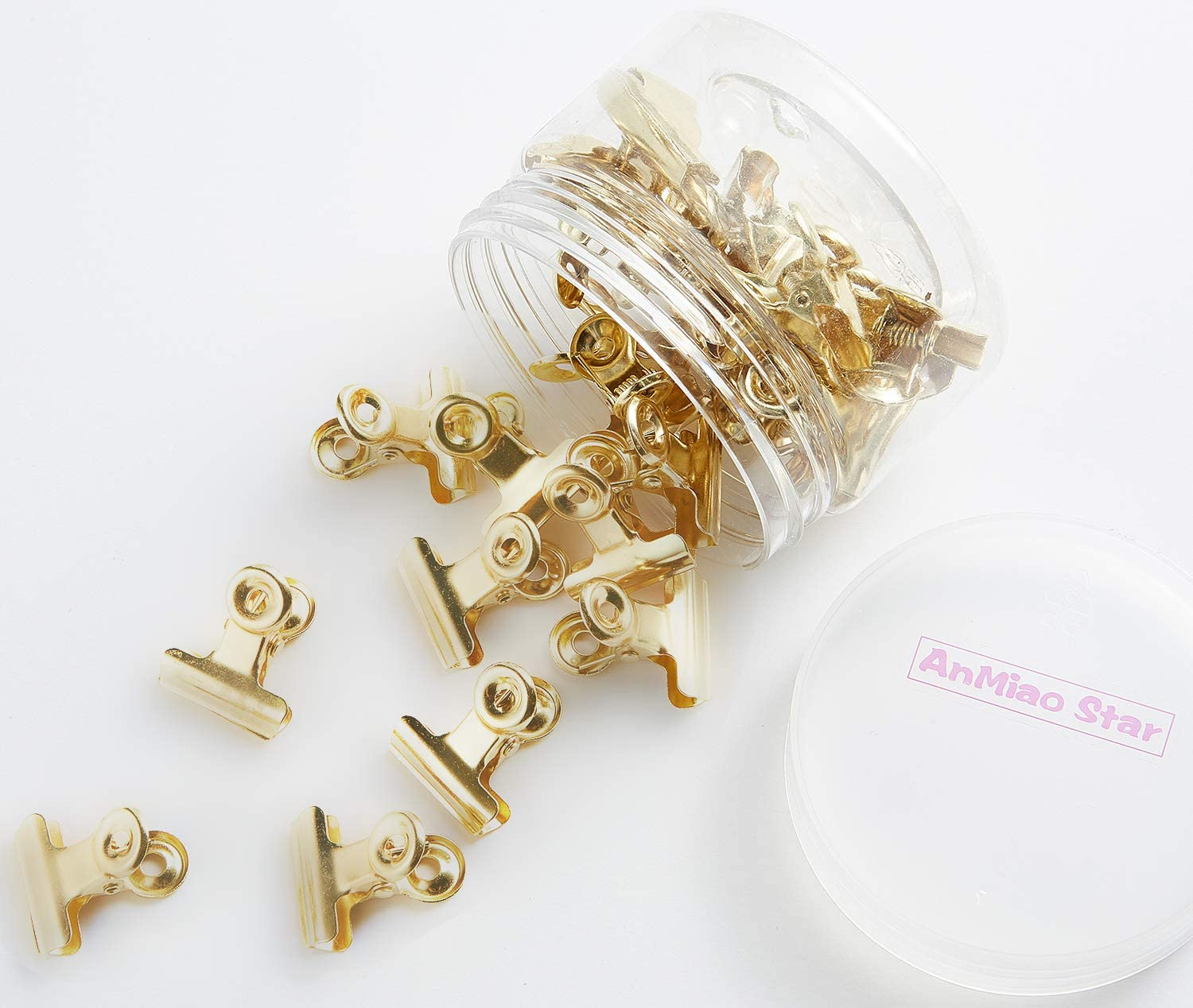 AnMiao Star 7/8 Inch Metal Bulldog Clips, Hinge Clips for Documents, Files, Pictures, Home Office Supplies, Pack of 30 (Gold)