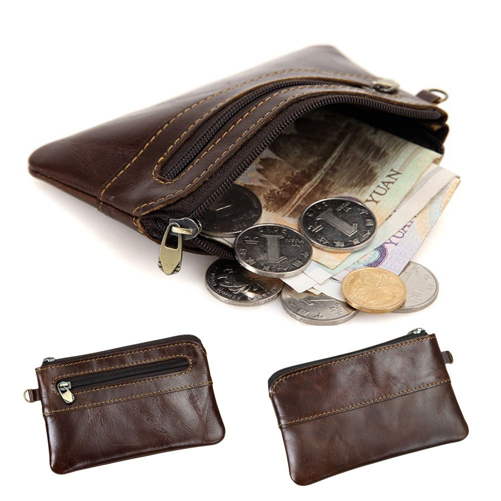 Mens Womens Genuine Leather Coin Purse Zipper Wallet Card Holder Vintage Retro