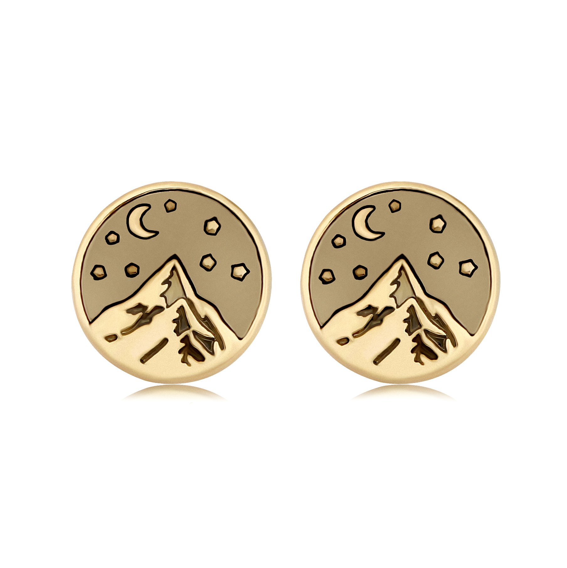 SENFAI Mountain Top Star Moon Night Earrings for Climbing Hiking Sports Lover (Gold)