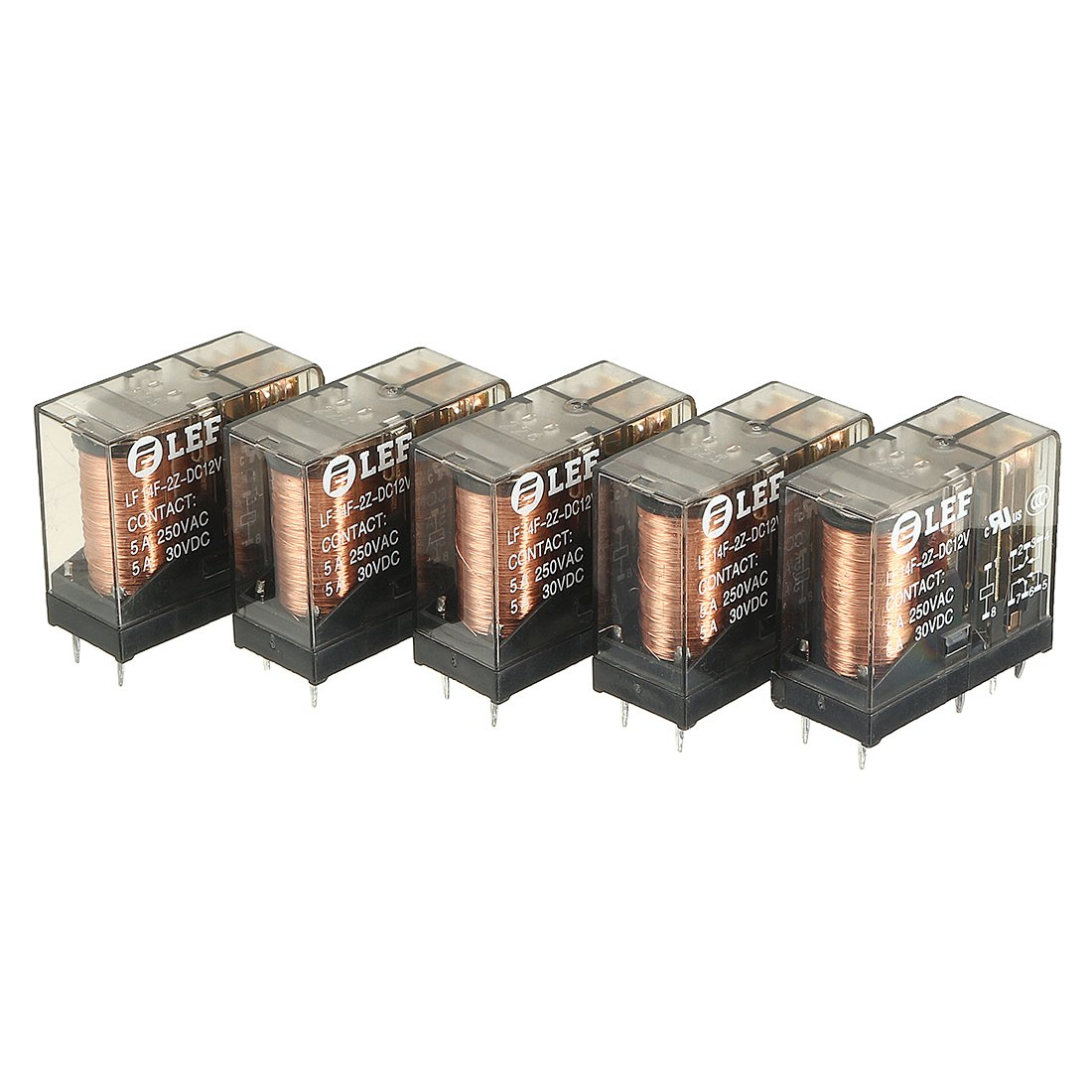 uxcell 5Pcs DC 12V Coil DPDT 2NO+2NC 8Pins Power Electromagnetic Relay DIN Rail/PCB Mounted 250V/30V 5A