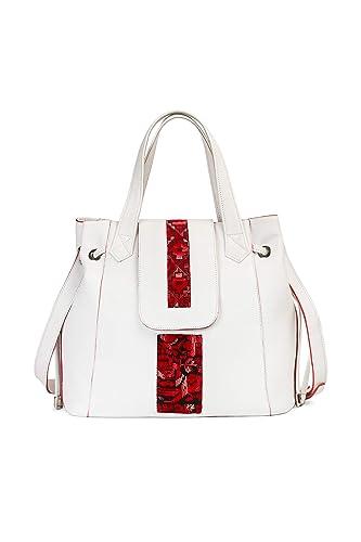 Bolso de hombro mujer marca española Ginok - De piel elegante, calidad premium - Hecho a mano 100% en España - Diseño original Ginok - Color Blanco - modelo Rosana: Amazon.es: Handmade