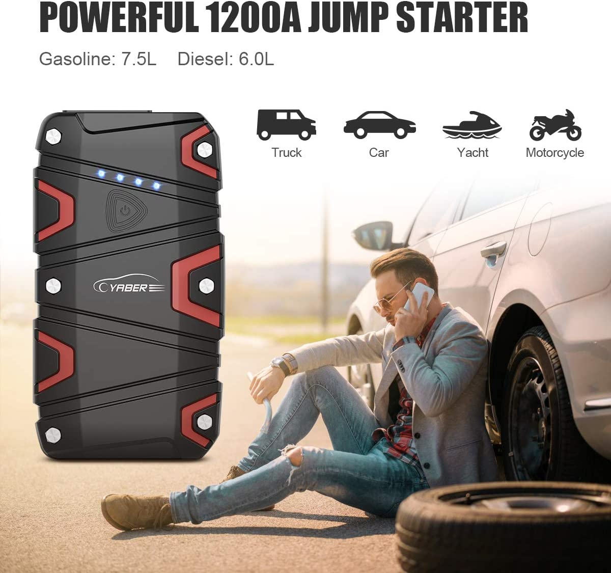 Jump Starter up to 7.5L Gas//6.0L Diesel 12V Waterproof Portable Jump Start Battery Pack with QC3.0 Outputs,Type-C Port,LED Flashlight Car Booster Charger YABER 1200A Peak 15000mAh Car Jump Starter