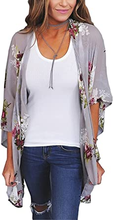 Women Casual Loose Chiffon Shawl Kimono Sun Protection Cardigan Beachwear LF