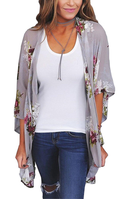 Womens Floral Chiffon Casual Cardigan - Bikini Half Sleeve Kimono Shawl Sun Protection Blouses Beach Wear (M, Grey)