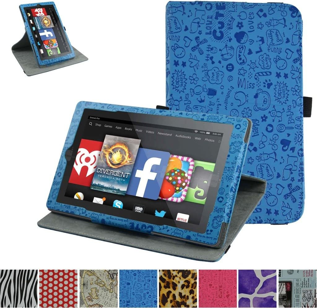 """Mama Mouth 360 Degree Rotary Stand with Cute Cover for 7"""" Amazon Fire 7 Android Tablet 5th Generation 2015 Release"""