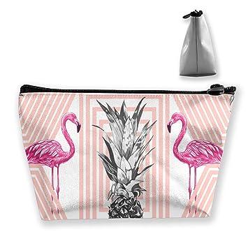 99e2c668bbc4 Amazon.com: Pineapples Pink Flamingos Pattern Travel Makeup Bag ...