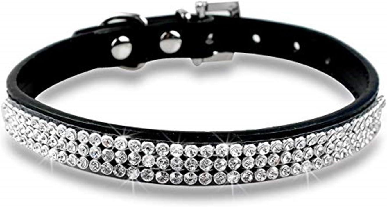 Hermoso Aspecto de Mascota para Mascotas Peque/ñas y Medianas Piel sint/ética fpengfashion Bling Collar para Perro con Diamantes de Imitaci/ón y Cristales Brillantes