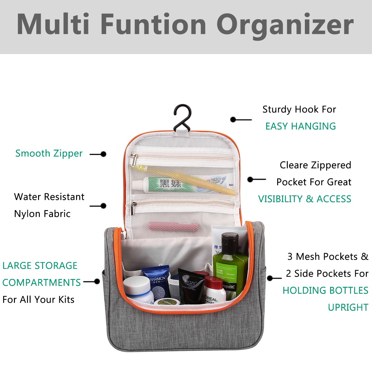 CozyCabin Hanging Toiletry Bag Travel Toiletry Kit for Men Women Toiletries Cosmetics Water Resistant with Mesh Pockets & Sturdy Nylon Hanging Hook Shower Bag, Organizer for Travel Accessories