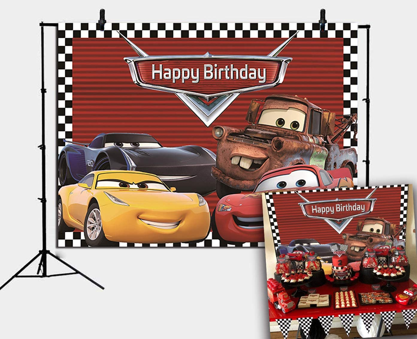 Red Cars Backdrop for Children Boys Birthday Party Supplies Vinyl Checkered Flag Racing Car Story Photo Background Banner Baby Show Photo Booth Studio Props Cake Table Decor (7x5ft)