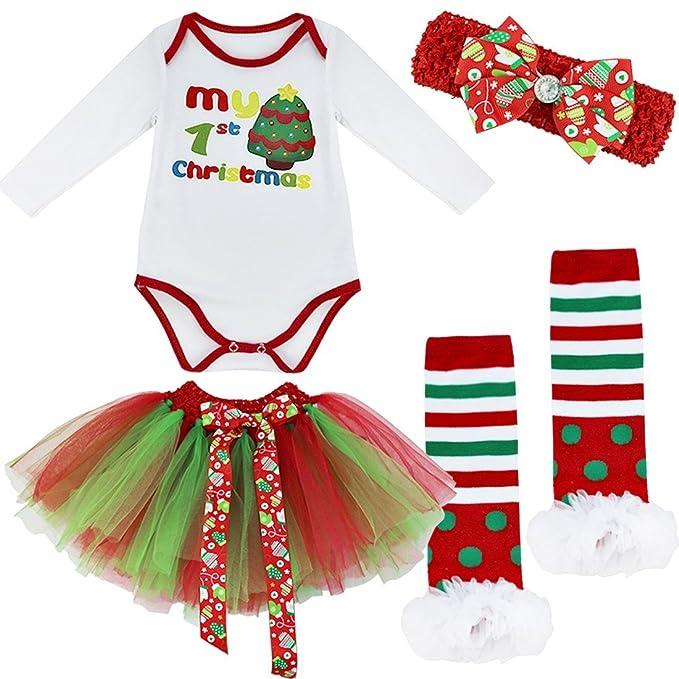 FEESHOW Pelele Vestido Ropa para Navidad Bebé Recién Nacido Traje de 4PCS Disfraz de Infantil Tutú Falda para Bebé Niñas árbol de navidad 6-12 meses: ...