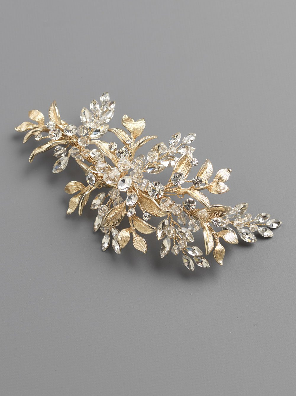 USABride Bridal Side Comb Gold-Plated Wedding Headpiece Floral Leaf Hair Accessory for Bride TC-2310-G (Gold)