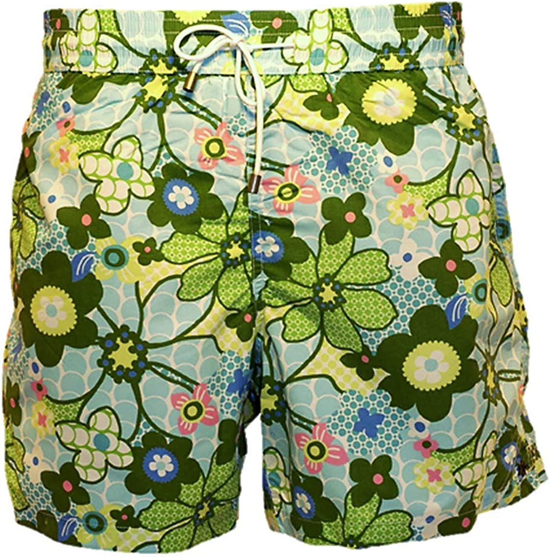 Bayahibe Swimwear Short Slim Fit Quick Dry French Swim Trunk for Men Green Flowered Pattern