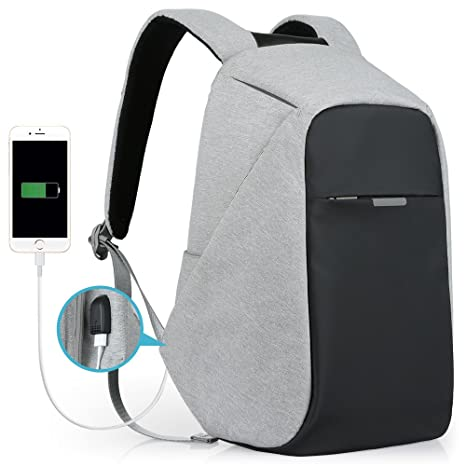 1e11a06fa0 Amazon.com  Anti-Theft Travel Backpack Business Laptop Book School Bag with  USB Charging Port for Student Work Men   Women by Oscaurt Grey  Computers    ...