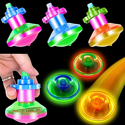 PROLOSO 12 Pcs Light Up Spinning Tops Spin Toys for Kids Boy Girl Birthday Party Favors Stocking Stuffers