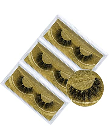 6a8ee64cca5 3D Natural Handmade Faux Mink False Eyelashes,Fake Lashes Pack of 3  (Natural Look