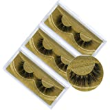 3D Natural Handmade Faux Mink False Eyelashes,Fake Lashes Pack of 3