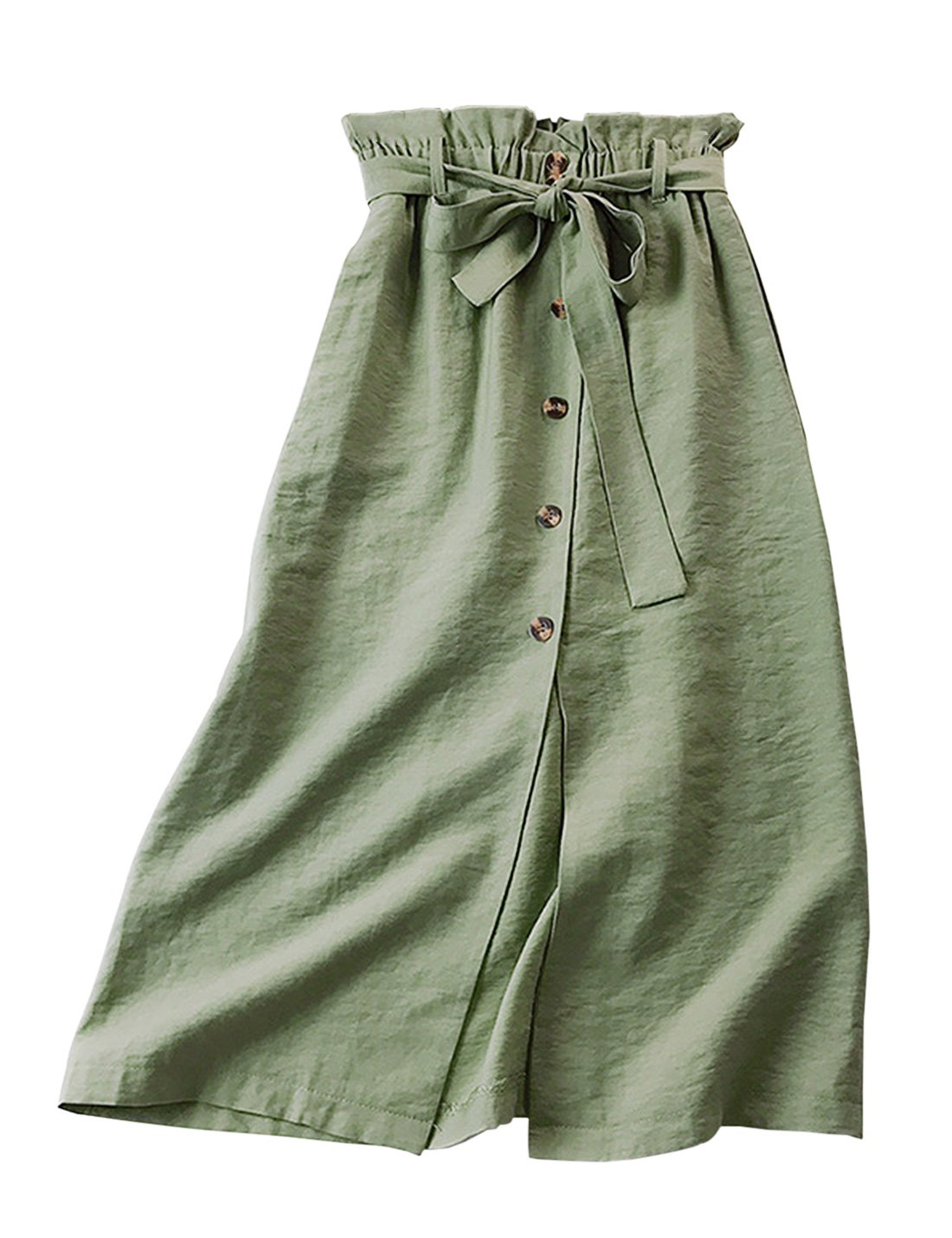 Yimoon Women's Solid Bowknot Belted Elastic Waist Cotton Linen Midi Skirt Button Front A-Line Casual Skirt with Pockets (Green, One Size)