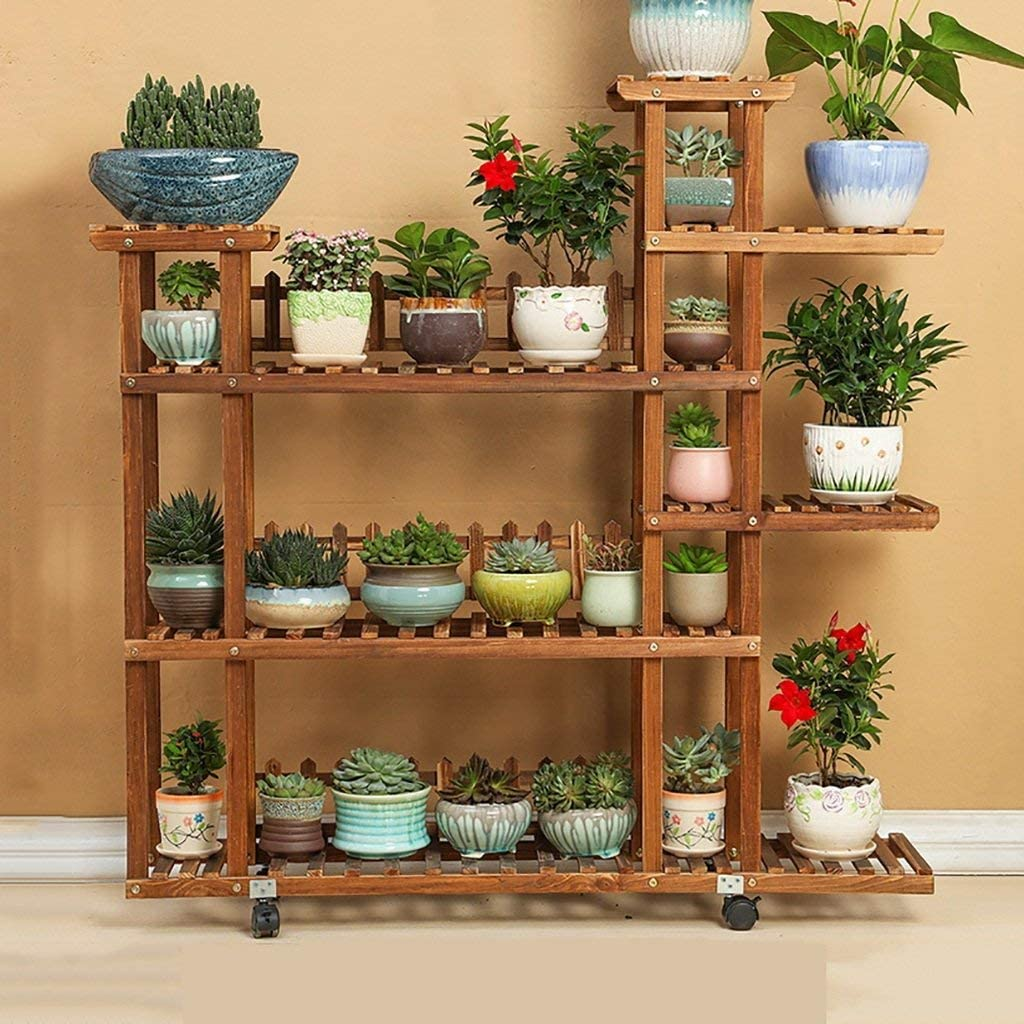 KAISIMYS Storage of flower pots Solid wood planter Landing Plant protection Corrosion protection Bonsai Interior Exterior Shelf for home textiles Shelf support Garden Shelf Size: A