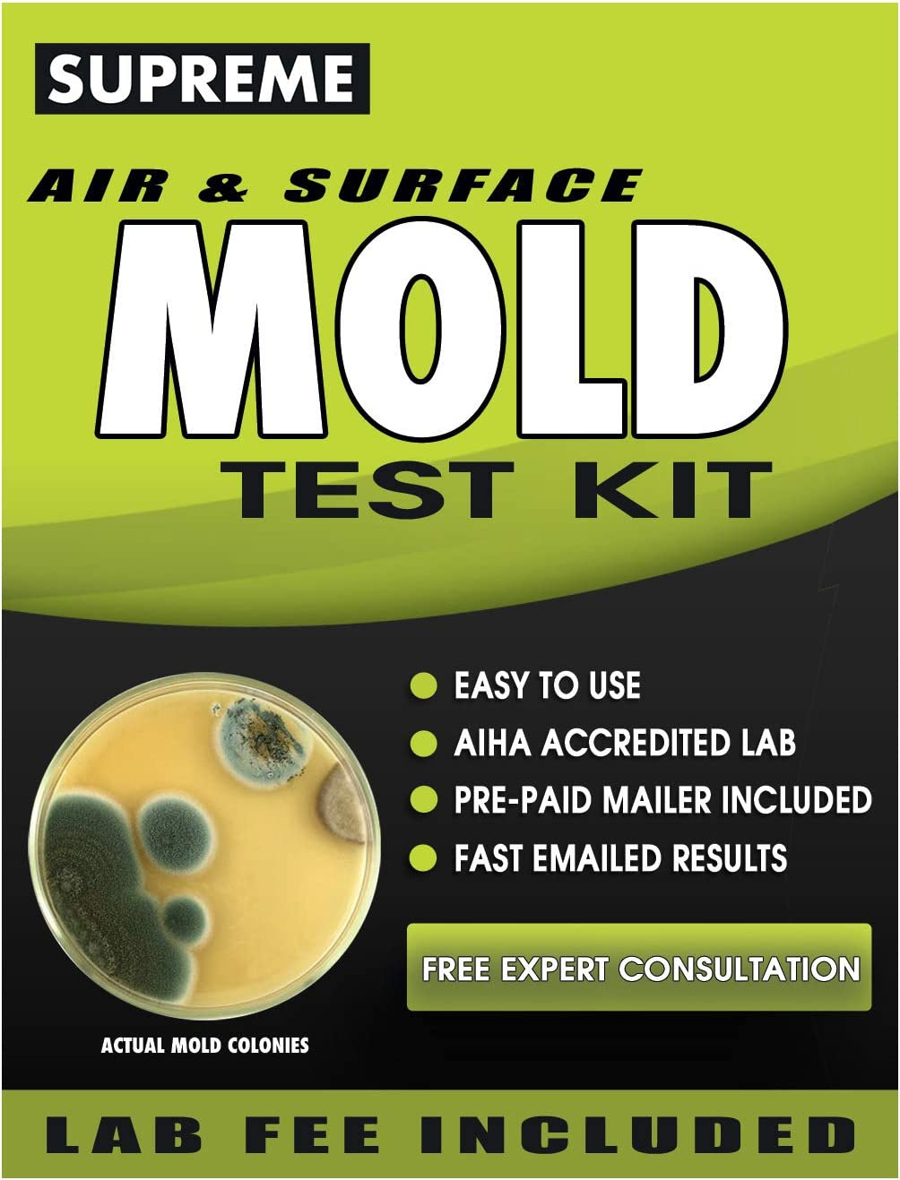 SUPREME - Mold Test Kit For Home - Air And Surface Mold Testing Kit - Mold Lab Analysis, Pre-Paid Return Mailer, Fast Mold Results To Your Home In 1 Week And Expert Mold Consultation