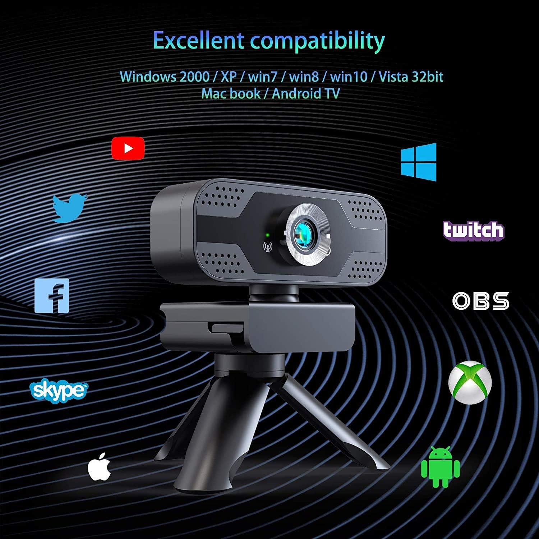 LiShiRongWebcam Full HD 1080P,USB Webcam con Microfono Stereo Telecamera Audio Stereo per Streaming Laptop e Desktop,Webcam PRO Stream con videochiamata Plug/&Play Nero