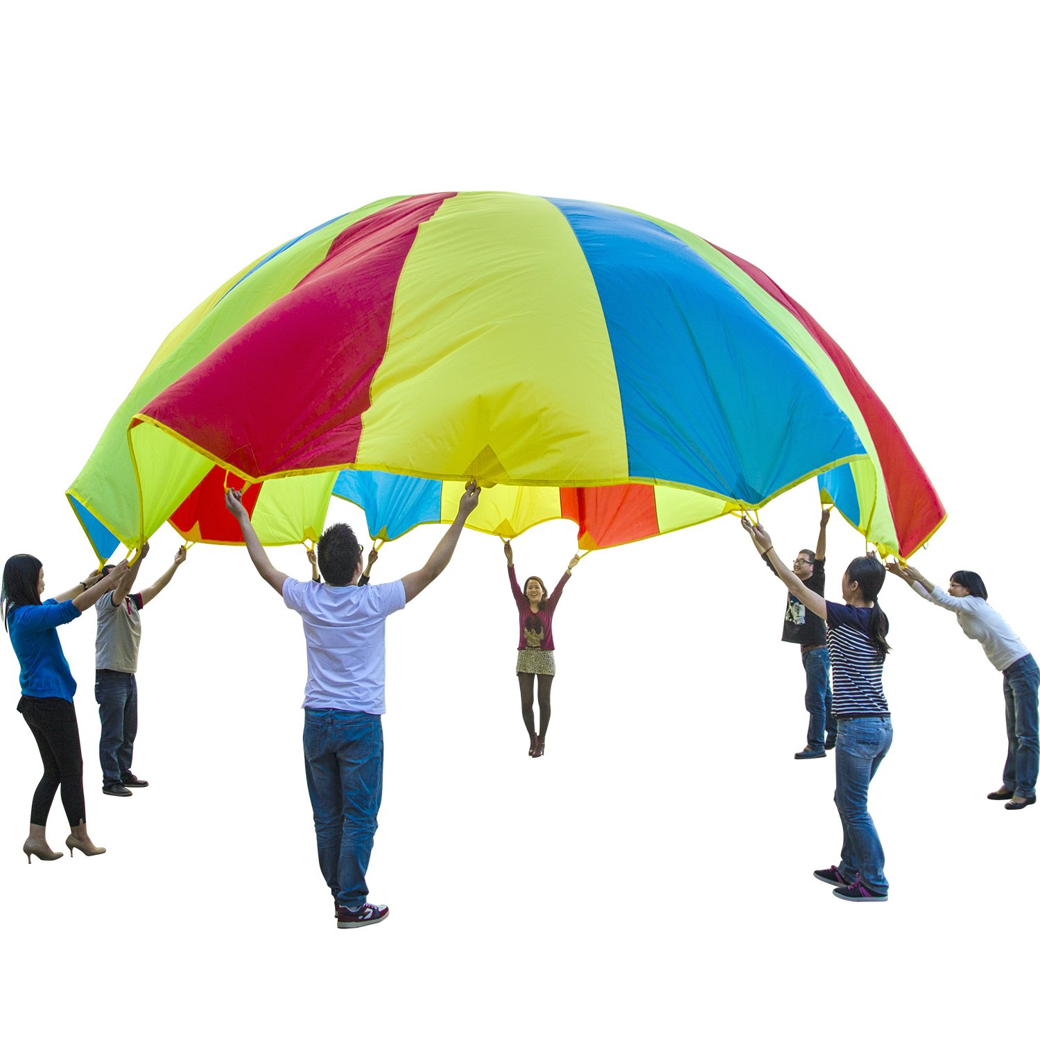 Sonyabecca Parachute, Play Parachute 20ft with 16 Handles for Kids Cooperation Group Play by Sonyabecca (Image #2)