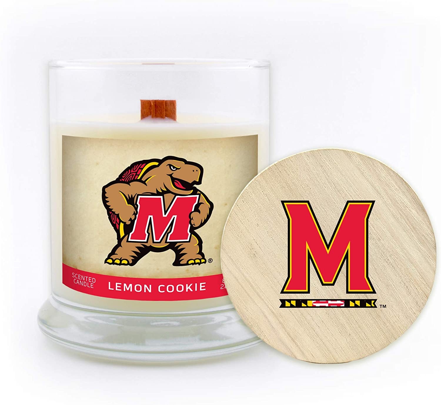 8 Oz MD-UM-LSCLC Lemon Cookie Worthy Promo Maryland Terrapins Gifts Soy Wax Scented Candle w//Wooden Lid