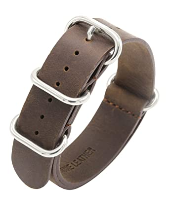 21515218fec NATO Strap Crazy Horse Leather Watch Band 18mm 20mm 22mm Top Grain Genuine  Leather Watch Strap
