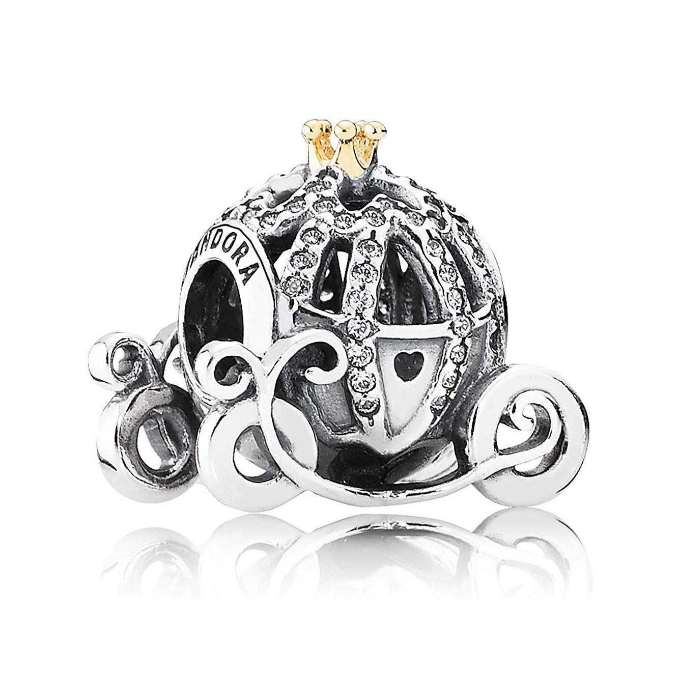 Pumpkin Coach Charm,Sterling Silver Charms with Clear CZ