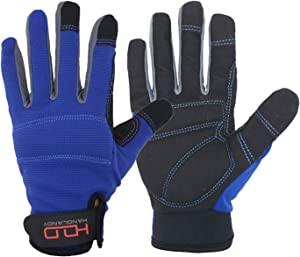 Handlandy Mens Work Gloves Touch screen, Synthetic Leather Utility Gloves, Flexible Breathable Spendex - Padded Knuckles & Palm (Medium, Blue)