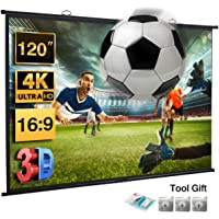 "Excelvan Projector Screen 120 Inch,16:9 120"" Wall-Mounted HD Movie Projection Screen for Indoor 4K Full HD and 3D Projector"