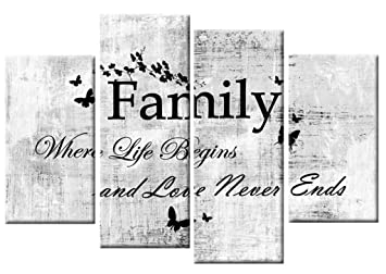 LARGE FAMILY QUOTE GREY BLACK WHITE CANVAS WALL ART PICTURE 4 PANEL SPLIT