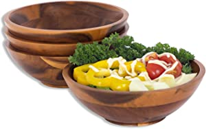 Wooden Bowl for Individual Meal - Pack of 4 Severing bowls for Salad, Pasta, Cereal, Rice and Snacks- 7 X 2.5 inches Acacia Wood Bowls for Christmas, Birthday and Anniversary Parties