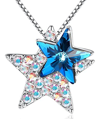821120f95e6 Amazon.com: GEMMANCE Star Necklace Sapphire Blue 3D Star Pendant Jewelry  Made with Swarovski Crystals Silver Tone Gifts for Her: Jewelry