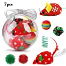 Legendog Christmas Cat Toys,7PCS Crystal Ball Cat Xmas Toys Set Interactive Variety Pack Kitten Toys Cat Toys for Indoor Cats - Best Gift for Cat