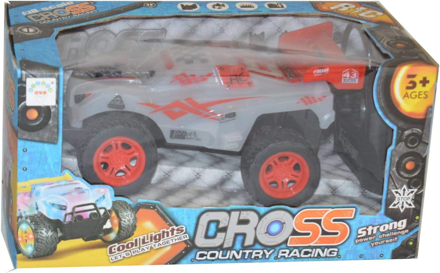 Explorer Cross Country Racing 1:18 Scale RC Car Childrens Remote Control Racer Off Road LED Lights Wireless Remote Red