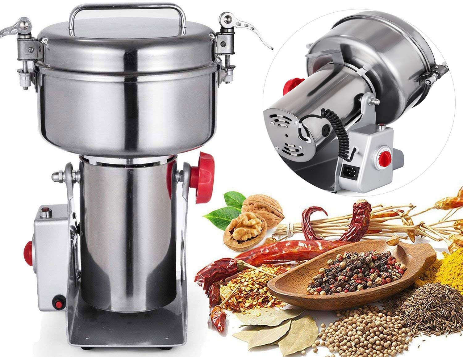 Mophorn Electric Grain Grinder 1000g Food Grade Stainless Steel Swing Type for Kitchen Herb Spice Pepper Coffee Pulverizer Grinding Machine 2500W Mill Powder 50-300 Mesh, 1000g, 1000g by Mophorn