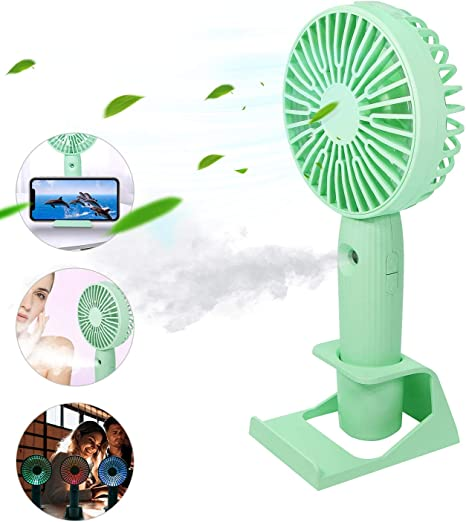 Color : Light Green Mini Portable Cooling Fan 1200mAh Cooler for Home Handheld Outdoor Fan Table Mini Rechargeable Laptop USB Fan