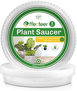 EFFECTEER Plant Saucer, 5 Pack, 12 inch, Round Plant Trays for Indoors, Clear Plastic Plant Pot Saucers, Durable Flower Pots with 5 Plant Labels (12'' - 5 Pack)